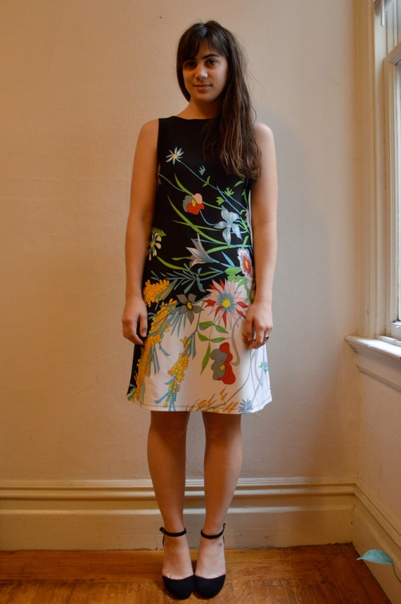 90s Plant Print Knee Length Dress