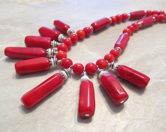 Bold Red Bamboo Coral Statement Necklace