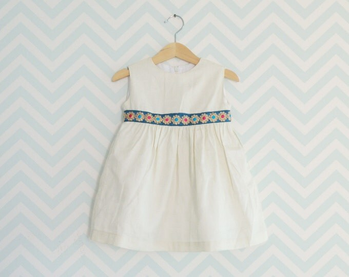 Dress for little girl, Luxury belt dress for girl, Party Dress for baby girls, Sleeveless Girl Dress, Cream four season dress
