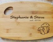Personalized Cutting Board  Wood burned Mushroom Design