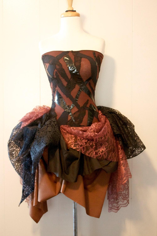 Made to Order - Dark Autumn Patchwork Dress Ballet steampunk buy now online