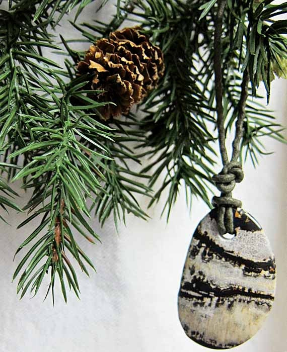 Natural christmas ornament stone by