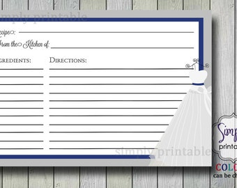 Recipe Card to Match Wedding Dress Invite