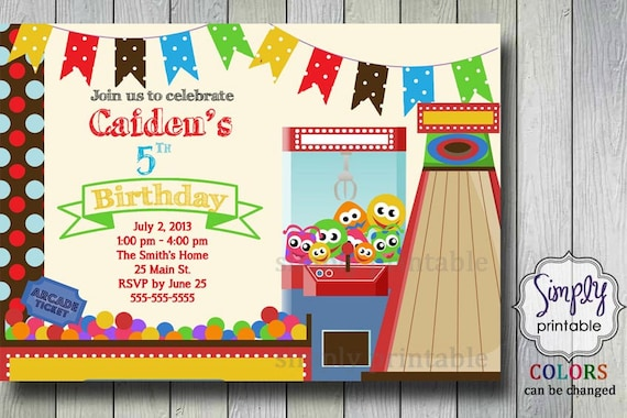 Birthday Party Invitation Arcade