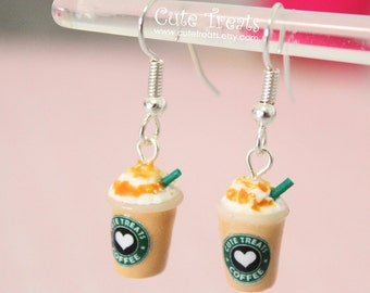 Starbucks Caramel Frappuccino Inspired Dangle Earrings - Silver Plated Surgical Steel