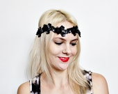 Black and Navy Hand beaded 1920s flapper style ribbon tie headband