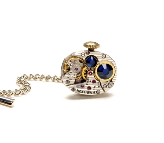 HANDSOME Steampunk Tie Tack STRIPED HAMILTON Steam Punk Tie Tack Vintage Watch Steampunk Wedding Steampunk Jewelry by Victorian Curiosities