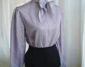 Pretty Lavender Satin Striped Secretary Blouse With Kitten Bow, Size Large