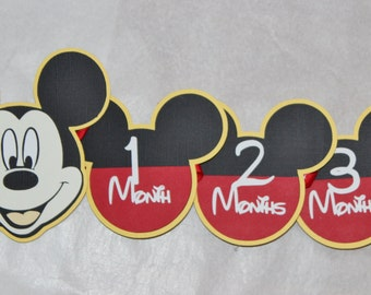 Mickey Mouse - Clubhouse - Monthly Banner - Photo Banner -12 Months - First Year