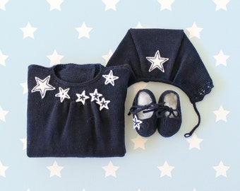 Knitted baby dress, cap and shoes blue set. Lace and felt stars. 100% Merino wool. READY TO SHIP size 1-3 months.