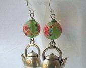 Green Tea Earrings, Teapot Dangle Earrings, Tea Jewelry