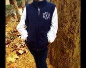 Personalized Youth Embroidered Monogramed Microfleece  Vest FRONT monogram Included