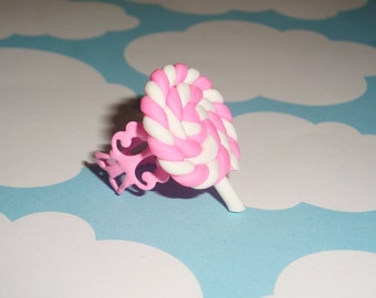 Swirly Lollipop Pink Filigree Ring