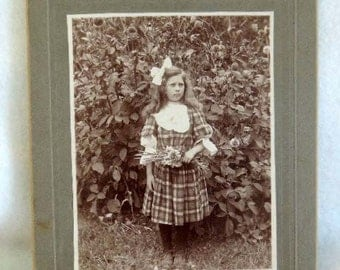 1908 Vintage CABINET PHOTO.. Grumpy Girl, Plaid Dress, Big Bow & Flowers