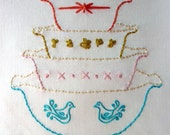 Vintage Bowls Embroidery Pattern. Vignette Series.