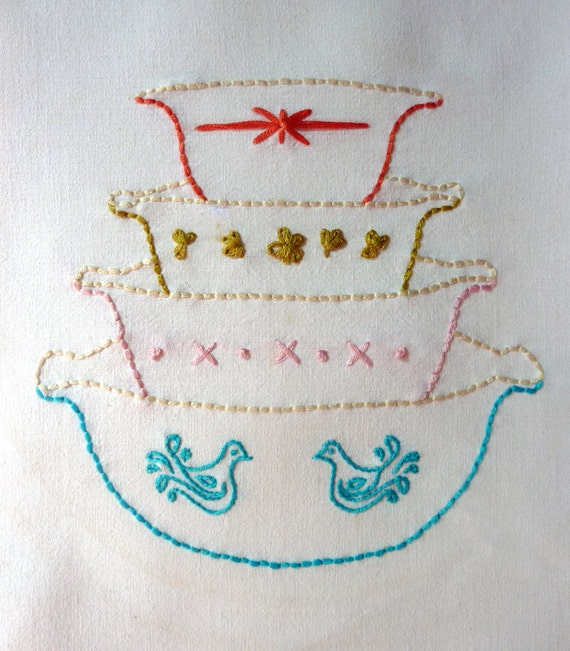 Vintage Bowls Embroidery Pattern Vignette Series