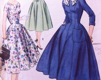Vintage 50s 1955 Pattern Sewing McCalls 3322 Size 12 Misses Princess Dress with Collar and Cuffs Mid Century Pattern Great Style Size 10