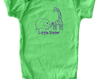 Little Sister Shirt - Little Sister Baby Bodysuit Green or Pink - Sizes 3-6 month, 6-12 month, 12-18 month, and 18-24 month - Gift Friendly