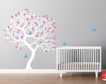Baby Girls Nursery Tree Decal Sticker. Modern Nursery Decor Custom Tree Decals