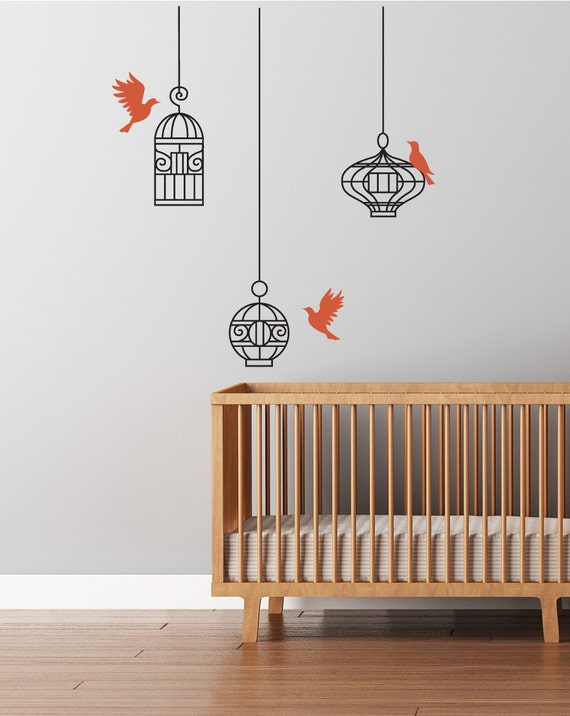 Bird cage wall decal  Hanging cages and flying birds wall decal sticker