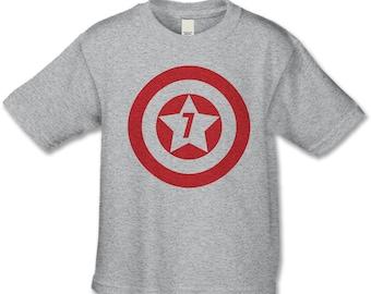 7th Birthday Shirt - American Super Hero Birthday Shirt - Superhero Birthday Party - Personalized Birthday Shirt - Choose Your Number