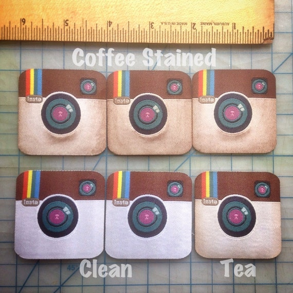 """INSTAGRAM 2"""" patch iron on woven embroidery, coffee tea stained or clean"""