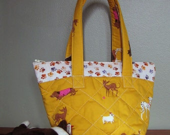 Little Girl's First Purse - Heather Ross Dog Fabric with Paw Print Border