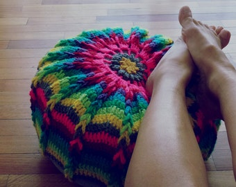 Crochet Pillow Pattern PDF - pouf, ottoman, round cushion or crochet hoop wall art photo tutorial - Instant DOWNLOAD