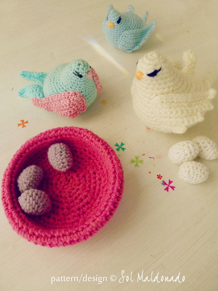 Bird amigurumi Crochet Pattern birds nest egg baby by bySol