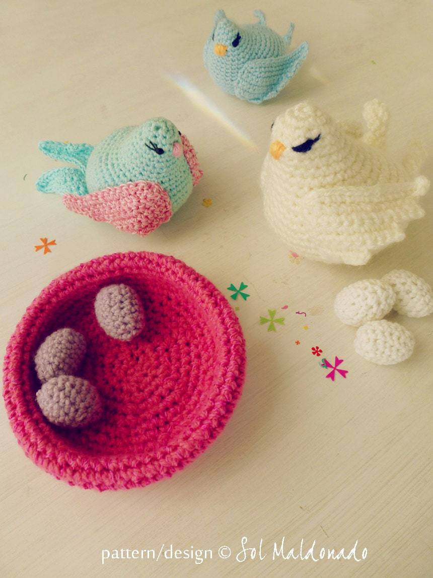 Amigurumi Plane Baby Mobile : Crochet Pattern Bird amigurumi toy and baby mobile PDF