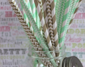50 Mint Green and Gold Party Straws in Stripes or Chevron, (25) ea.,  Mint Green and Gold Wedding Straws, Party Straws - DIY Flag Template