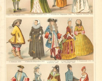 1904 European Noble Costumes, 17-19th century, England, Netherlands and France Original Antique Chromolithograph