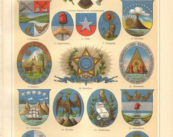 1905 Coat of Arms of American States Original Antique Chromolithograph