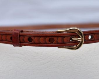 Tan leather skinny belt , Womens custom belt , Leather , skinny belts