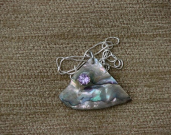 Beautiful abalone and genuine amethyst necklace.