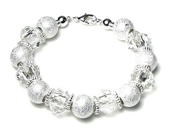 Classic Clear Glass And Silver Stardust Large Hole Bead Silver Finish Bracelet, Gift For Women, Chunky Bead Bracelet, Romantic White Wedding