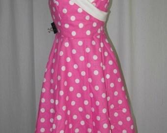 Pink polka dot rockabilly dress