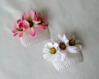 Pink hair comb silk flower bridal hairpiece Wedding accessories floral comb Budget Bride bridesmaid bridal party accessory