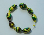 Hand Crafted Polymer Beads, Jewelry Supplies, Polymer Beads in Green, Yellow and Brown
