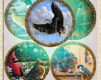 Digital Collage of Birds - 63 1x1 Inch Circle JPG images