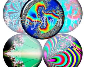 Digital Collage of fractal abstraction - 35 1x1 Inch Circle JPG images