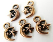 Charms : 10 Oxidized Copper Moon & Star Charms / Antique Copper Moon Star Pendants ... Lead, Nickel, Cadmium Free J2F