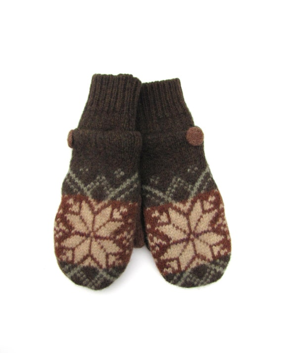 Wool Mittens Fleece Lined Nordic Snowflake Fair Isle Olive Green Copper and Beige