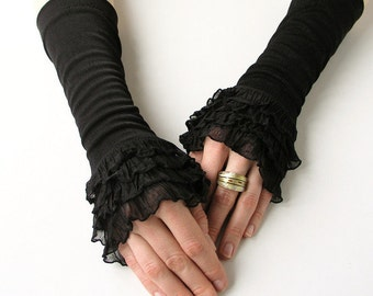 Cuffs / Mittens with Flounce / Arm Warmers