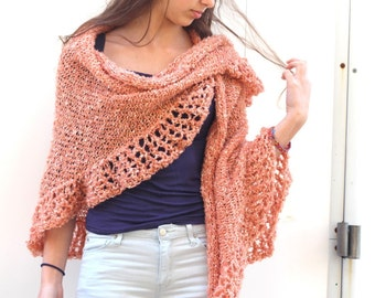 Peach Shawl  Salmon Wraps Shawl scarf Knitted Shawl Womens Knit Shawl Women's Clothing Accessories Crocheted shawl