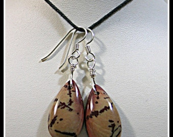 Teardrop Pair of Wire Wrapped Owyhee Mountain Dendritic Jasper Earrings