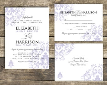 PRINTABLE Wedding Invitation Suite DIY - Lavender Damask Wedding Collection  (Colors and Wording Can Be Customized)