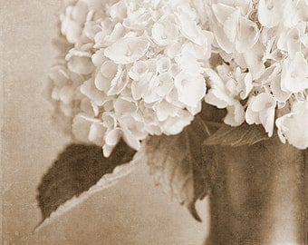 Sepia Flower Print or Canvas Wrap, Sepia Flower Print, Sepia Hydrangea, Nature Photography, Vintage Toned Flower Print, Vertical Portrait.