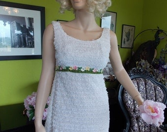 Vintage Wedding dress 1960s empire white lace wedding gown sheath motown supremes style