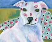 "Dog art, ""Kissyface,"" 5"" x 5"" blank card, pitbull painting"